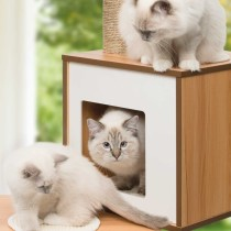 Cat Condo Vesper V Double cat tree, cat condo with cat bed and scratching post, cat climbing gym